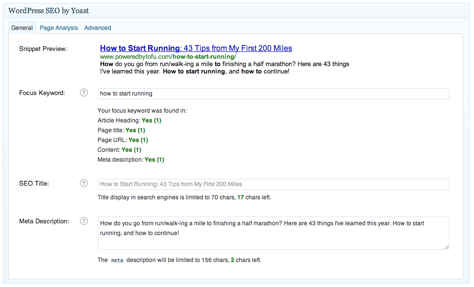Yoast plugin way to keep track of your seo friendly headlines