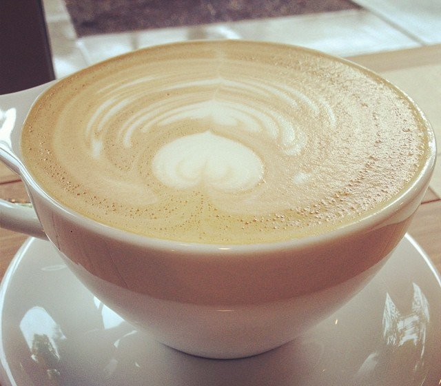 This is what a latte heart looks like if you're left handed!