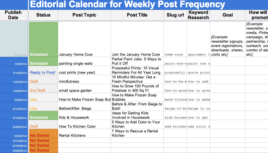 2015 Editorial Calendar Template: Free Download