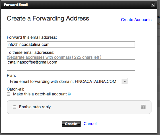 Forwarding email address