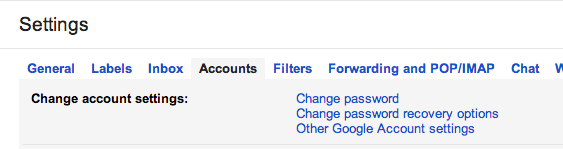 Gmail Accounts settings
