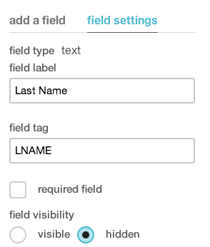 Mailchimp Hidden Fields