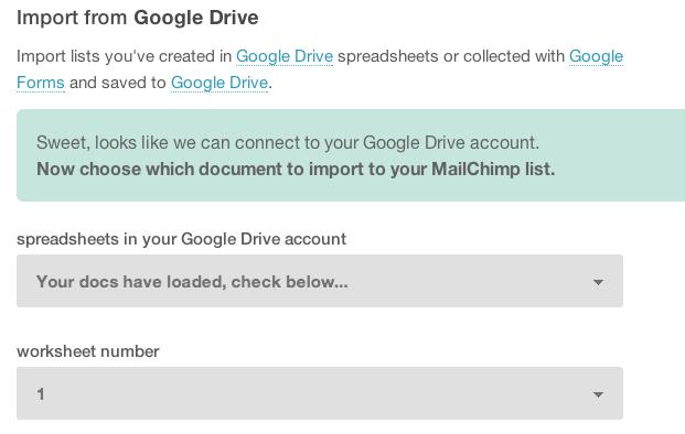 Mailchimp Google Drive Import