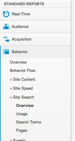 Site Search in Analytics