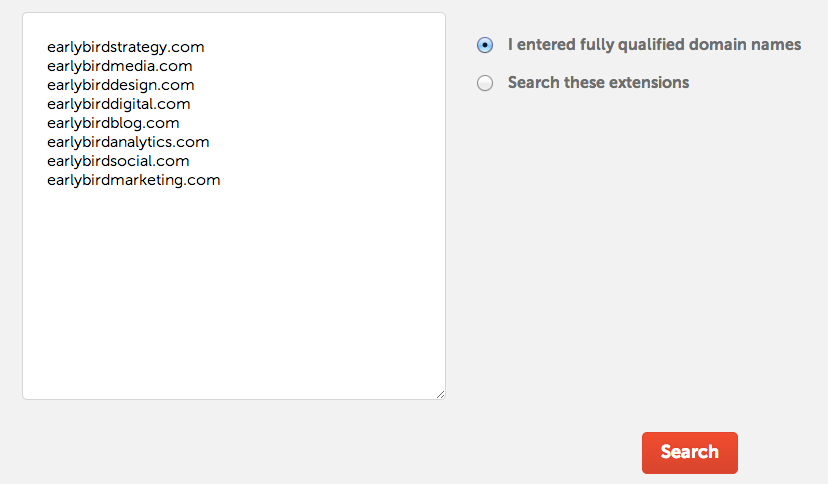 Domain name searching at Namecheap
