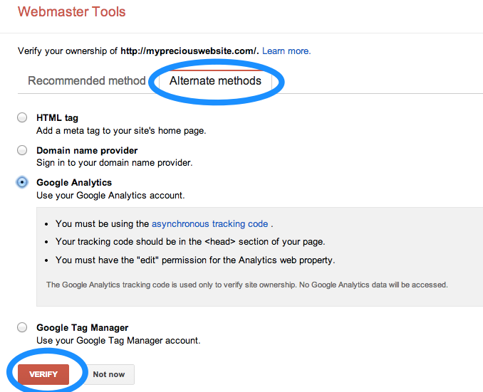 Verify site with Google Analytics