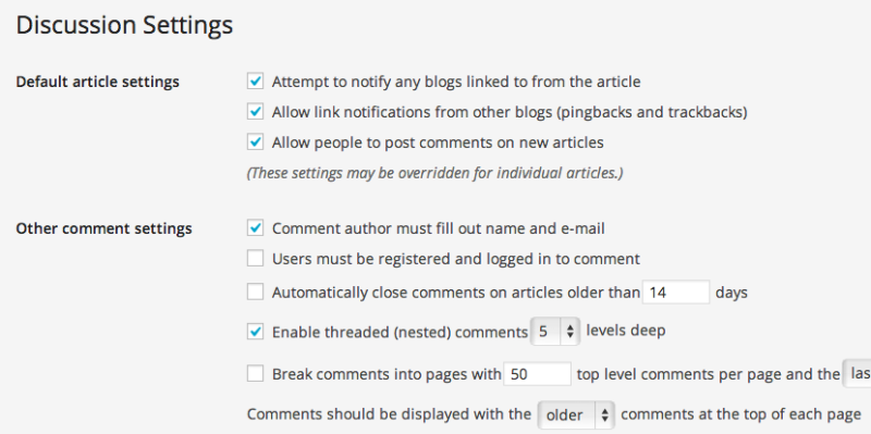 Comments settings in WordPress