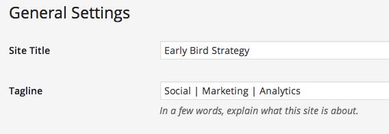 WordPress Tagline setting