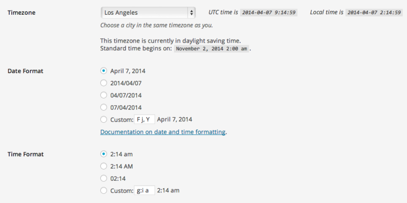 Timezone in WordPress