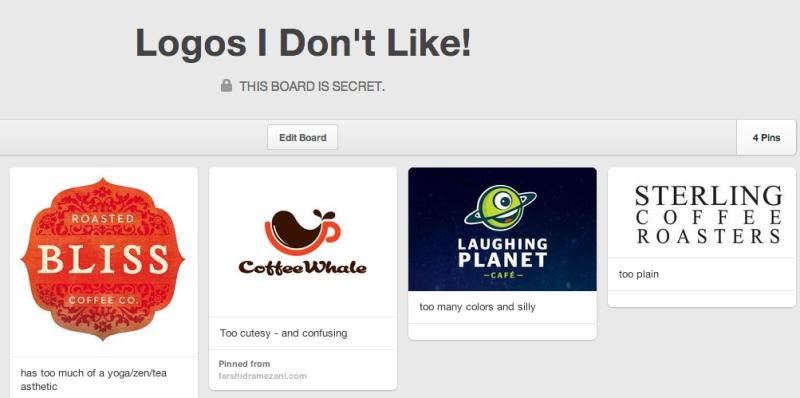 Pinterest - don't like logos