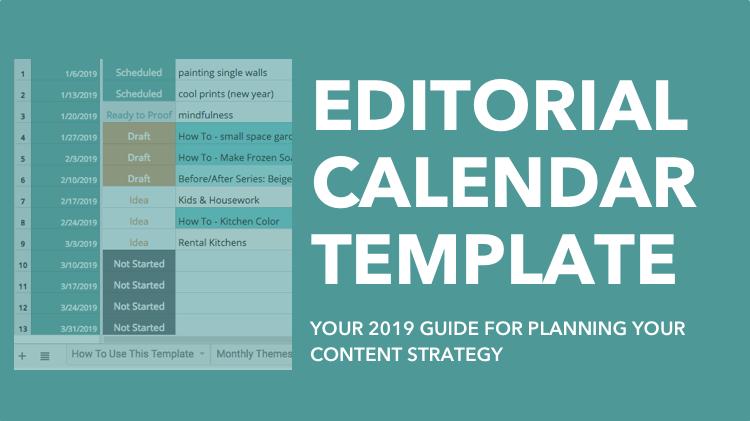 Editorial Calendar Template - 2019 Content Plan