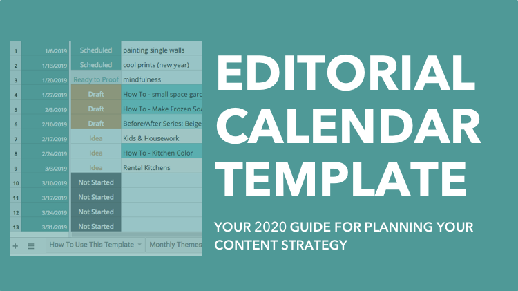 Editorial Calendar Template - 2020 Content Plan